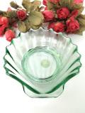 <スペイン製>優雅な緑ガラス♪シェルデザインが優雅なアートフルなディッシュ