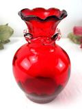 1950年代:優雅な赤ガラス♪まあるいフォルムのアートフルなフラワーベース