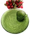 <英国ミッドセンチュリー>優雅な緑ガラス♪ガラス細工が美しい大きなお皿の輝く光のテニスセット