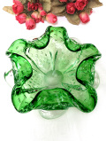 <英国ハンドメイド>1930年代:波打つフリルと優雅な気泡♪美しいグリーンのクリスタルガラスのアートフルで大きなボウル