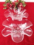 1930年代:ピンク色の野バラのガラス細工♪2つのお部屋の優雅なオードブルディッシュ