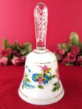 1950年代:ハンドペイントの華やかなお花たち♪スパイラルのガラス細工が美しい持ち手の大きなビンテージベル