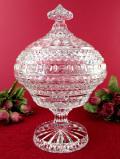 1940年代:素晴らしいガラスのカット♪まぶしく強く輝くクリスタルガラスのとても大きなふた付きボウル