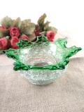 <英国ビンテージ>素晴らしくアートフルな緑ガラスと透明ガラスのガラスボウル