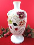 1930年代:ハンドペイントのお花たち♪英国ミルクガラスのとても大きなフラワーベース