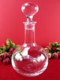 <ウェッジウッド:レア♪>ぶ厚いクリスタルガラス♪優雅な光のカットが美しいまあるくて大きなデカンタ