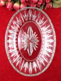 1930年代:優雅な英国アンティークガラス♪光のお花が咲いた楕円形のガラスボウル