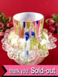 <英国ミッドセンチュリー>マーブル模様のアンティークガラス♪フリフリが可愛らしいフラワーベース