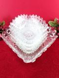 <英国ミッドセンチュリー>立体的なガラス細工♪とてもぶ厚いアートフルなアンティークガラスのボウルセット「5点セット」