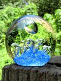 <英国ハンドメイド>アートフルな気泡たち♪透明と青が美しいアンティークガラスのペーパーウェイト