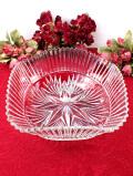 1930年代:英国アンティークガラス♪立体的なガラス細工がきれいなとても大きな四角いガラスボウル