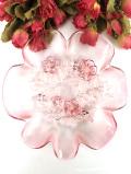 1920年代:立体的なバラのお花のガラス細工♪ぽったりとぶ厚いアンティークガラスの深皿