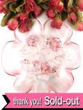 ★★1920年代:立体的なバラのお花のガラス細工♪ぽったりとぶ厚いアンティークガラスの深皿:通常価格4280円→