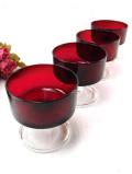 <フランス製>1940年代:赤ガラスと透明ガラスのコラボレーションがきれいなデザートカップ 「4個セット」
