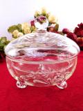 1930年代:グラヴィール装飾のお花たち♪ガラス細工が美しい愛らしい足つきの大きなふた付BOX