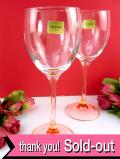 ★★<フランス製>「luminarc」(リュミナルク)ステイの色が美しいピンク♪アートフルなクリスタルガラスのワイングラス「2点セット」:通常価格3980円→
