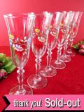 1940年代:愛らしい野の花たち♪英国アンティークガラスの美しいワイングラス「6個セット」