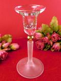 1940年代:ピンクガラスと曇りガラスのコラボレーション♪アートフルなキャンドルスタンド