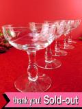 <英国ミッドセンチュリー>:お花たちのグラヴィール装飾♪優雅で美しい大きめのデザートカップ「5個セット」