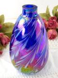 1930年代:7色に輝く英国アンティークガラス♪優雅でアートフルな一輪挿し