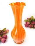 1930年代:ストライプがきれい♪オレンジガラスが美しいアートフルで大きなフラワーベース