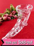 1930年代:バラのお花のグラヴィール装飾♪クリスタルガラスのアートフルなフラワーベース