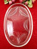 ★★1930年代:アートフルなガラス細工♪とても分厚いアンティークガラスの楕円形の大きなトレイ