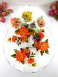 <英国ミッドセンチュリー>華やかな英国のお花たち♪直径25cmぽったりとしたアンティークガラスが美しい大きなお花のお皿