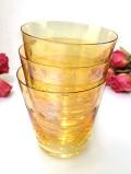 <英国ミッドセンチュリー>お星様と水玉模様♪淡い黄色がきれいなコップ「3個セット」