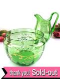 1910年代:エドワーディアン時代♪透明な緑ガラス♪輝く金彩が美しいクリスタルガラスの大きめボウル「ジャグのおまけ付」