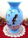 1920年代:ハンドペイントの野鳥さんとお花たち♪高さ26.5cm英国ミルクガラスの工芸品のようなとても大きなフラワーベース