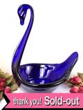 ★★<英国ミッドセンチュリー>綺麗な紺色のアンティークガラス♪とても大きな白鳥さんのボウル:通常価格5880円→