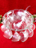 1960年代:レア♪フルーツたちのガラス細工がきれい♪とても大きなパンチボウル&レードル「13点セット」