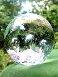 <英国ハンドメイド>アートフルな気泡たち♪透明とピンクが美しいアンティークガラスのペーパーウェイト
