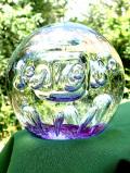 <英国ハンドメイド>超特大♪銀色の気泡の競演♪素晴らしくアートフルなとてもとても大きなペーパーウェイト