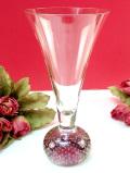 <英国ミッドセンチュリー>アートフルな気泡たち♪淡い紫色の台座が美しいクリスタルガラスのフラワーベース