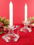 <英国ミッドセンチュリー>優雅な六角形♪ガラス細工が美しいキャンドルホルダー「2個セット:キャンドル2本プレゼント付」