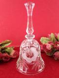 <英国ミッドセンチュリー>可憐なお花たち♪ハンドカットのガラス細工の音色が美しいとても大きなクリスタルガラスのベル