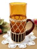 <英国ミッドセンチュリー>優雅なアンバーガラス♪カントリーな持ち手付グラス