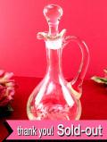 1930年代:グラヴィール装飾の葉たち♪ガラス細工が美しい英国アンティークガラスのビネガーポット