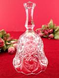 1940年代:高さ18cm♪可憐なお花たち♪立体的なガラス細工の音色が美しいクリスタルガラスのとても大きなベル
