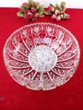 <英国ミッドセンチュリー>立体的な植物たちのガラス細工♪クリスタルガラスが美しいとても大きな2WAYのアレンジメントボウル