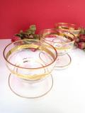 1940年代:ぽったりとぶ厚いアンティークガラス♪たっぷりとした金彩が美しい大きなデザートカップ「3個セット」