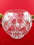 1940年代:ずっしりと重たい♪立体的なガラス細工が美しいクリスタルガラスのフラワーベース