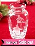 <英国ミッドセンチュリー>フクシアのお花のガラス細工♪クリスタルガラスがきれいなアートフルな一輪挿し