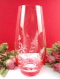 <英国ミッドセンチュリー>可憐なお花のグラヴィール装飾♪クリスタルガラスが美しい大きなフラワーベース
