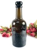 1920年代:深いアンバーガラス♪英国アンティークの大きな「エール」ボトル