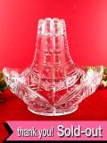 <英国ミッドセンチュリー>光のガラス細工♪優雅なクリスタルガラスの大きなバスケット