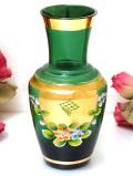 <イタリア製>ムラノガラス♪金彩と立体的なお花が美しい緑ガラスのフラワーベース