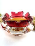 <英国ハンドメイド>赤と透明の分厚いクリスタルガラス♪工芸品のようなアートフルなガラスボウル